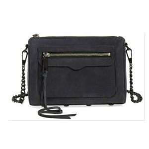 NWOT Black Suede Leather Chain Crossbody Purse